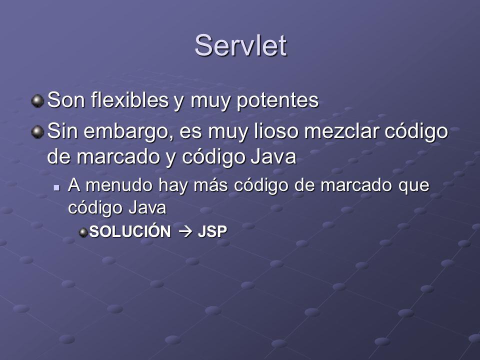 Servlet Son flexibles y muy potentes Sin embargo, es muy lioso mezclar código de marcado y código Java A menudo hay más código de marcado que código J