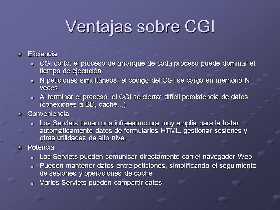 Ventajas sobre CGI Eficiencia CGI corto: el proceso de arranque de cada proceso puede dominar el tiempo de ejecución CGI corto: el proceso de arranque