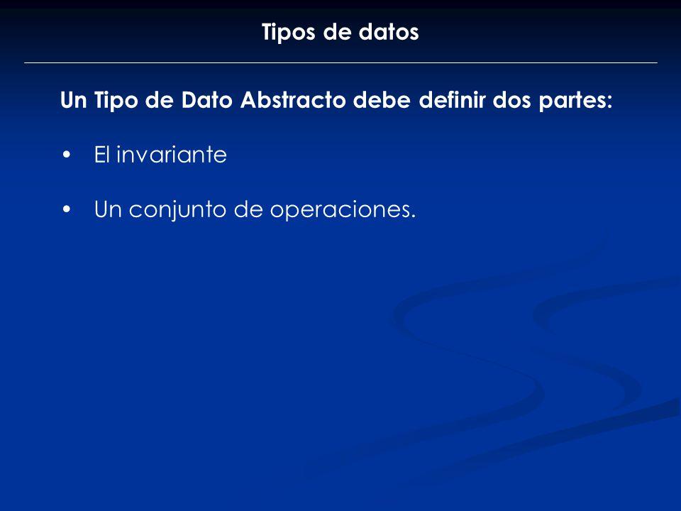 Tipos de datos Un Tipo de Dato Abstracto debe definir dos partes: El invariante Un conjunto de operaciones.
