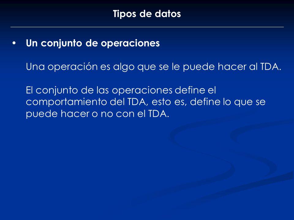 Tipos de datos Un conjunto de operaciones Una operación es algo que se le puede hacer al TDA. El conjunto de las operaciones define el comportamiento