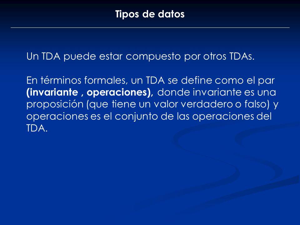 Tipos de datos Un TDA puede estar compuesto por otros TDAs. En términos formales, un TDA se define como el par (invariante, operaciones), donde invari