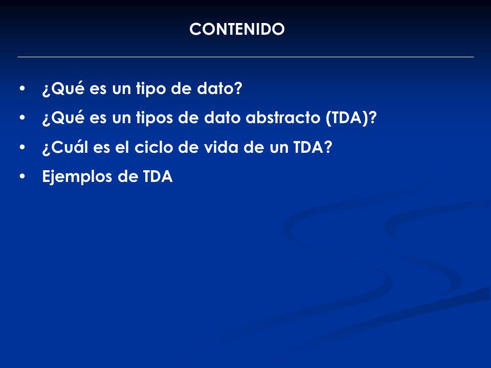 CONTENIDO ¿Qué es un tipo de dato? ¿Qué es un tipos de dato abstracto (TDA)? ¿Cuál es el ciclo de vida de un TDA? Ejemplos de TDA