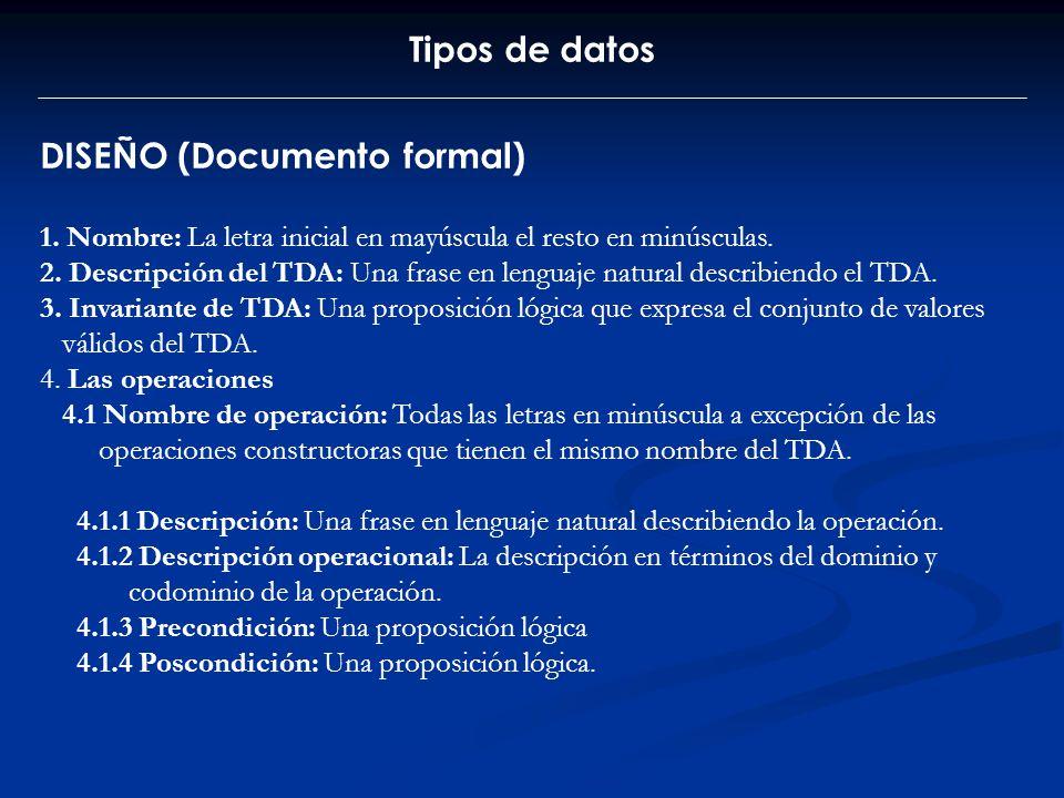 Tipos de datos DISEÑO (Documento formal) 1. Nombre: La letra inicial en mayúscula el resto en minúsculas. 2. Descripción del TDA: Una frase en lenguaj