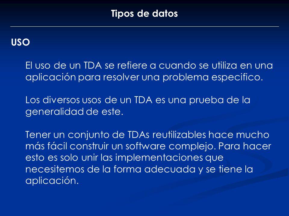 Tipos de datos USO El uso de un TDA se refiere a cuando se utiliza en una aplicación para resolver una problema especifico. Los diversos usos de un TD