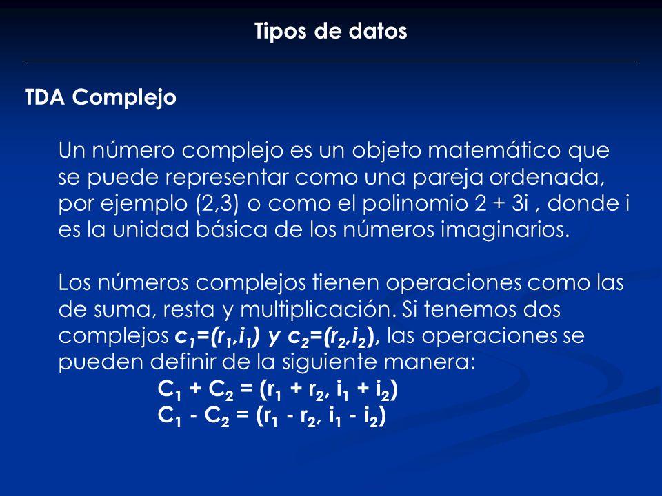 Tipos de datos TDA Complejo Un número complejo es un objeto matemático que se puede representar como una pareja ordenada, por ejemplo (2,3) o como el