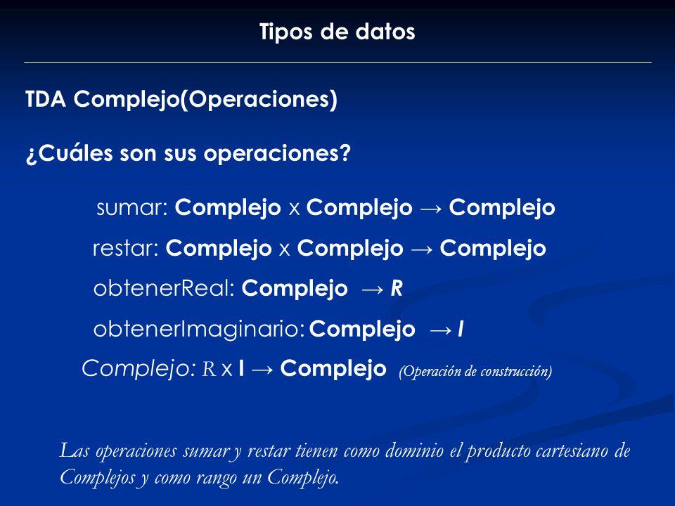 Tipos de datos TDA Complejo(Operaciones) ¿Cuáles son sus operaciones? sumar: Complejo x Complejo Complejo restar: Complejo x Complejo Complejo obtener