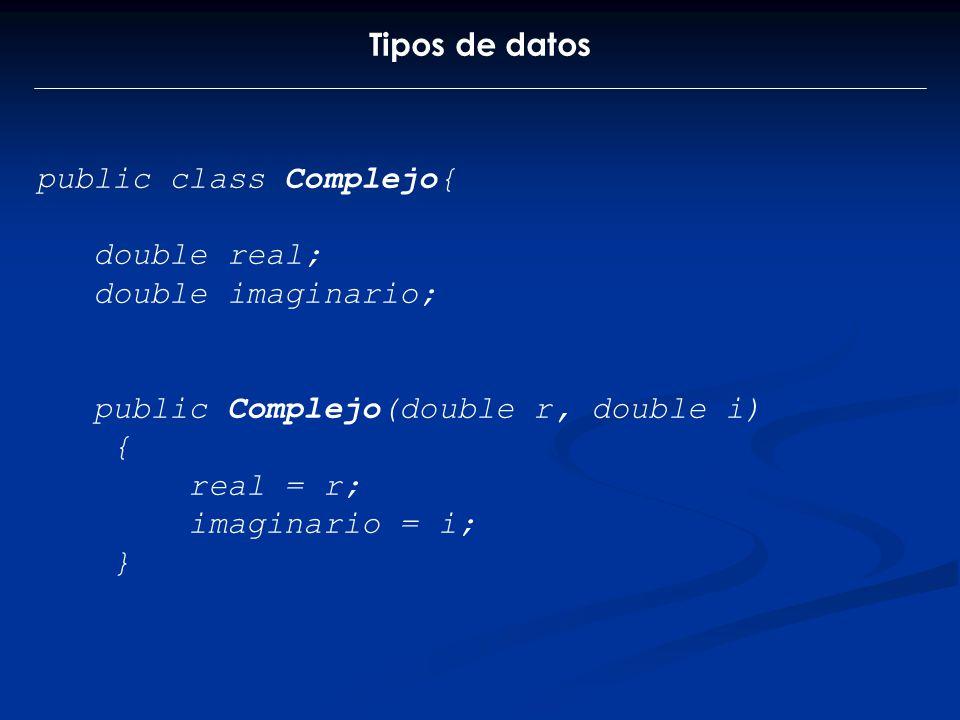 Tipos de datos public class Complejo{ double real; double imaginario; public Complejo(double r, double i) { real = r; imaginario = i; }
