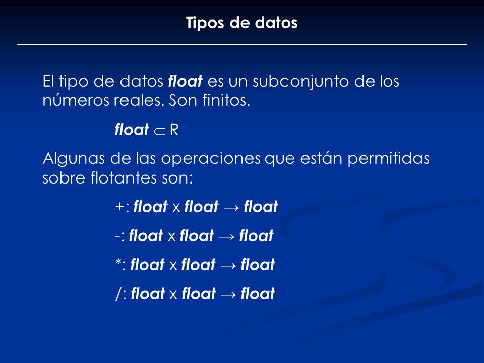 Tipos de datos El tipo de datos float es un subconjunto de los números reales. Son finitos. float R Algunas de las operaciones que están permitidas so