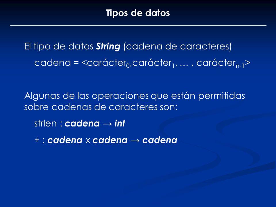 Tipos de datos El tipo de datos String (cadena de caracteres) cadena = Algunas de las operaciones que están permitidas sobre cadenas de caracteres son