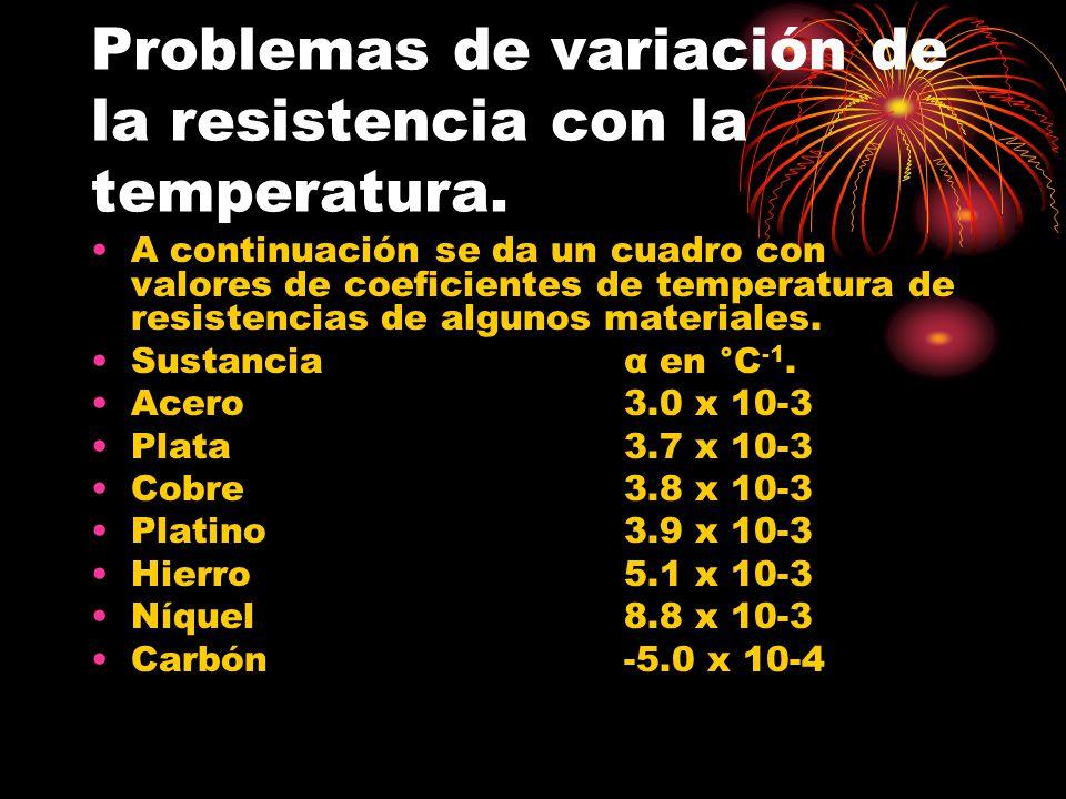 Problemas de variación de la resistencia con la temperatura. A continuación se da un cuadro con valores de coeficientes de temperatura de resistencias