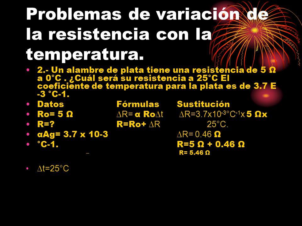 Problemas de variación de la resistencia con la temperatura. 2.- Un alambre de plata tiene una resistencia de 5 Ω a 0°C. ¿Cuál será su resistencia a 2