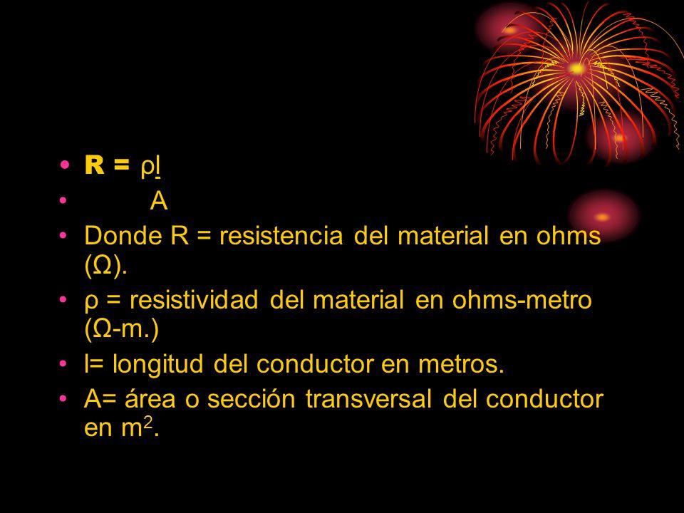 R = ρl A Donde R = resistencia del material en ohms (Ω). ρ = resistividad del material en ohms-metro (Ω-m.) l= longitud del conductor en metros. A= ár