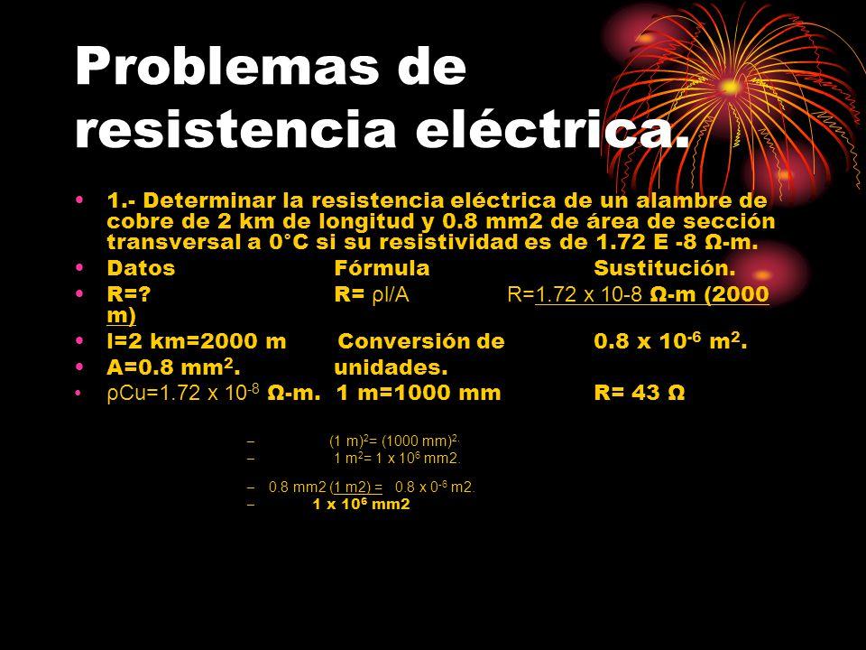Problemas de resistencia eléctrica. 1.- Determinar la resistencia eléctrica de un alambre de cobre de 2 km de longitud y 0.8 mm2 de área de sección tr