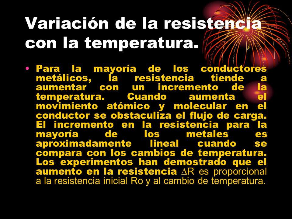 Variación de la resistencia con la temperatura. Para la mayoría de los conductores metálicos, la resistencia tiende a aumentar con un incremento de la