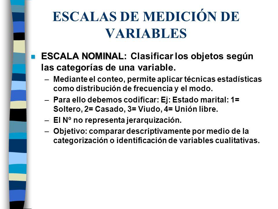 ESCALAS DE MEDICIÓN DE VARIABLES n ESCALA NOMINAL n ESCALA NOMINAL: Clasificar los objetos según las categorías de una variable. –Mediante el conteo,