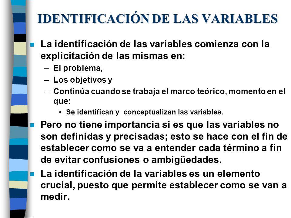 IDENTIFICACIÓN DE LAS VARIABLES n La identificación de las variables comienza con la explicitación de las mismas en: –El problema, –Los objetivos y –C