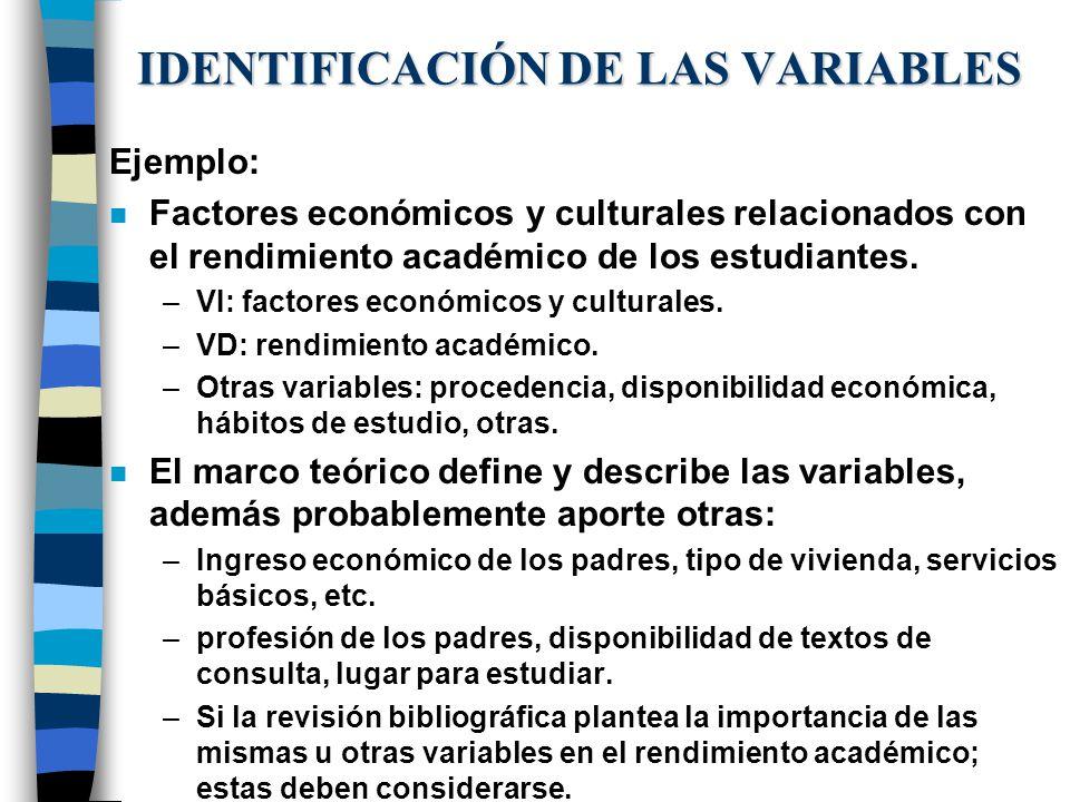 IDENTIFICACIÓN DE LAS VARIABLES Ejemplo: n Factores económicos y culturales relacionados con el rendimiento académico de los estudiantes. –VI: factore