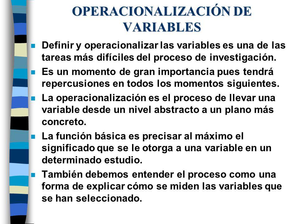 OPERACIONALIZACIÓN DE VARIABLES n Definir y operacionalizar las variables es una de las tareas más difíciles del proceso de investigación. n Es un mom