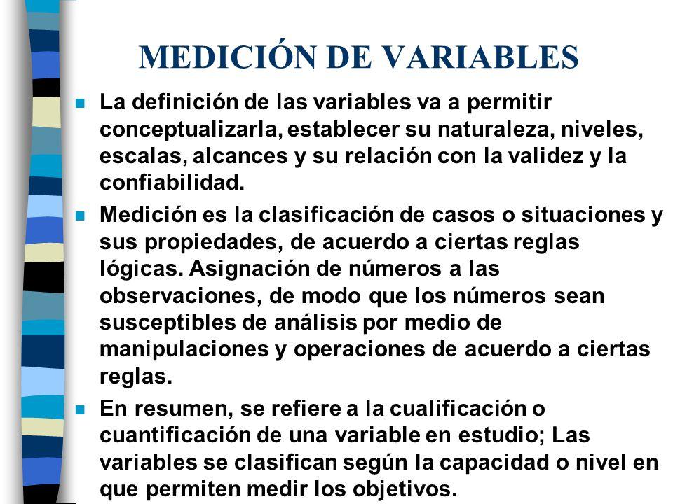 MEDICIÓN DE VARIABLES n La definición de las variables va a permitir conceptualizarla, establecer su naturaleza, niveles, escalas, alcances y su relac