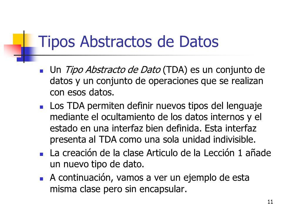 11 Tipos Abstractos de Datos Un Tipo Abstracto de Dato (TDA) es un conjunto de datos y un conjunto de operaciones que se realizan con esos datos. Los
