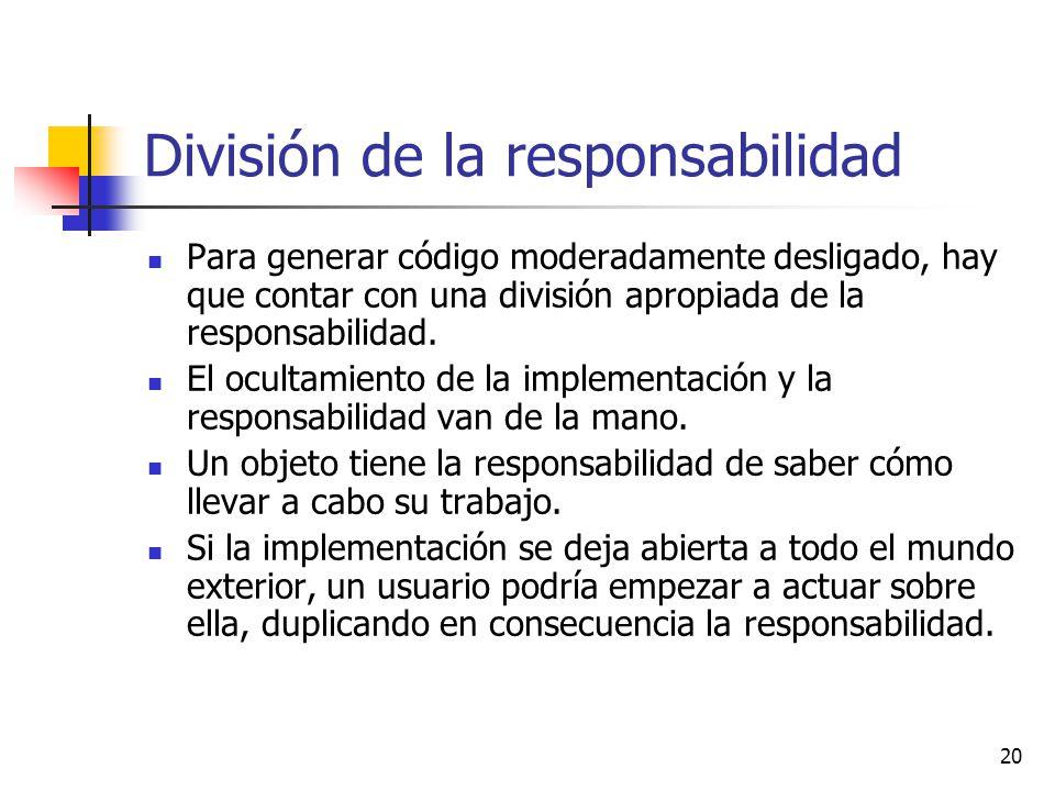 20 División de la responsabilidad Para generar código moderadamente desligado, hay que contar con una división apropiada de la responsabilidad. El ocu