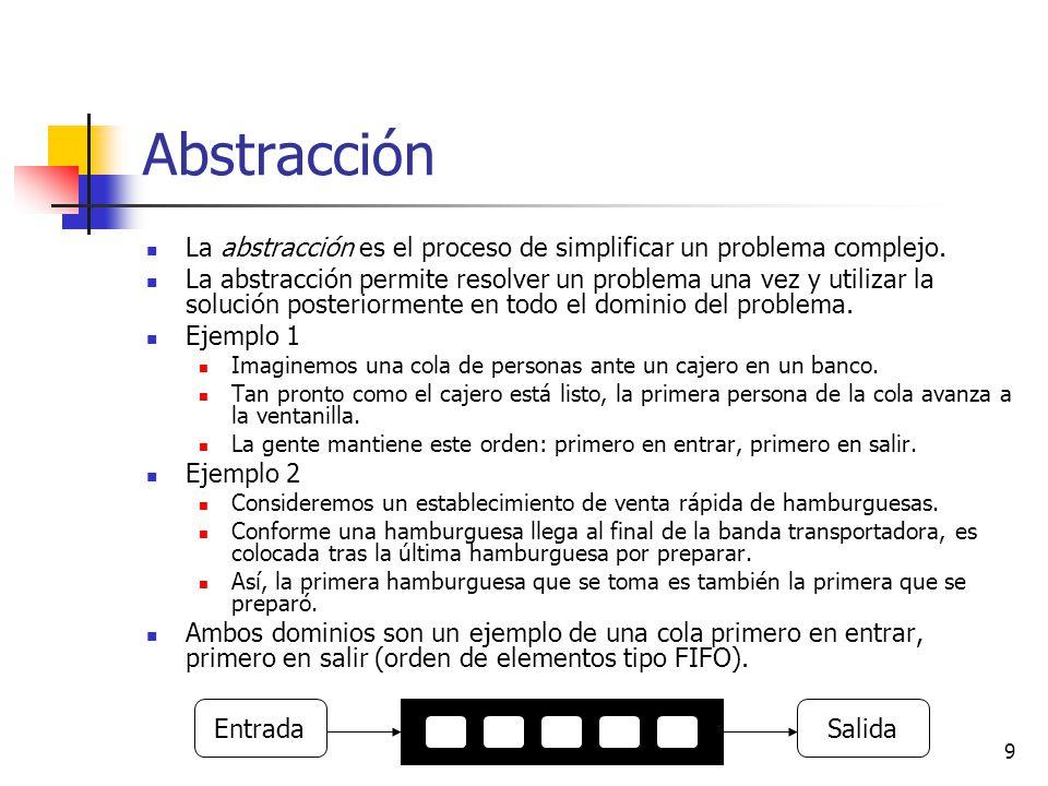 9 Abstracción La abstracción es el proceso de simplificar un problema complejo. La abstracción permite resolver un problema una vez y utilizar la solu