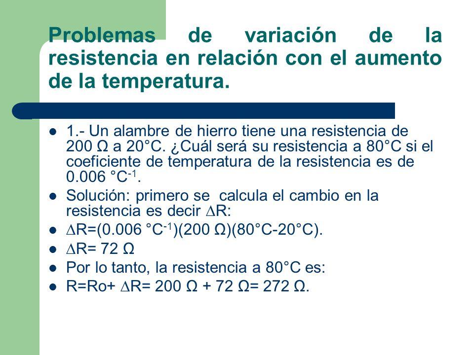 Problemas de variación de la resistencia en relación con el aumento de la temperatura. 1.- Un alambre de hierro tiene una resistencia de 200 Ω a 20°C.