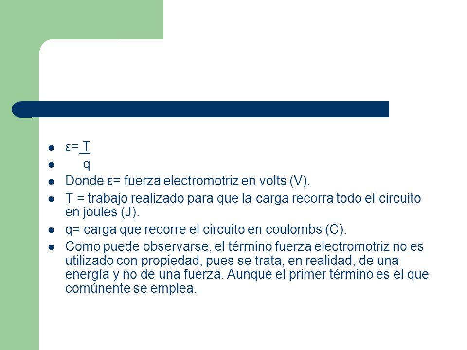 ε= T q Donde ε= fuerza electromotriz en volts (V). T = trabajo realizado para que la carga recorra todo el circuito en joules (J). q= carga que recorr
