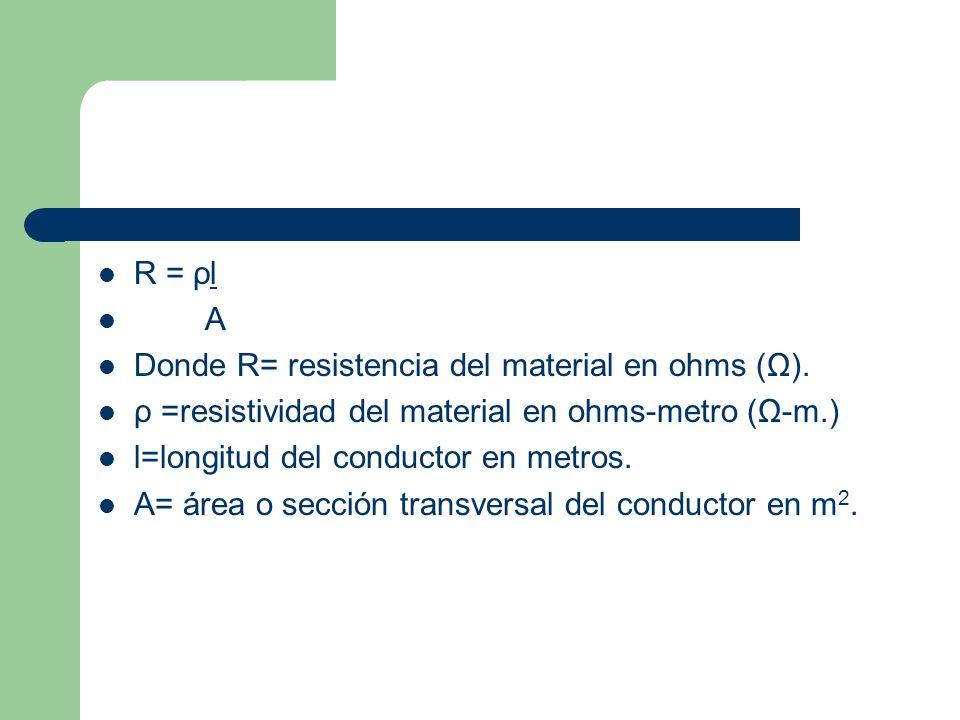 R = ρl A Donde R= resistencia del material en ohms (Ω). ρ =resistividad del material en ohms-metro (Ω-m.) l=longitud del conductor en metros. A= área