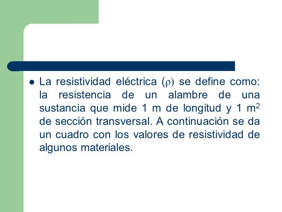 La resistividad eléctrica ( ρ) se define como: la resistencia de un alambre de una sustancia que mide 1 m de longitud y 1 m 2 de sección transversal.
