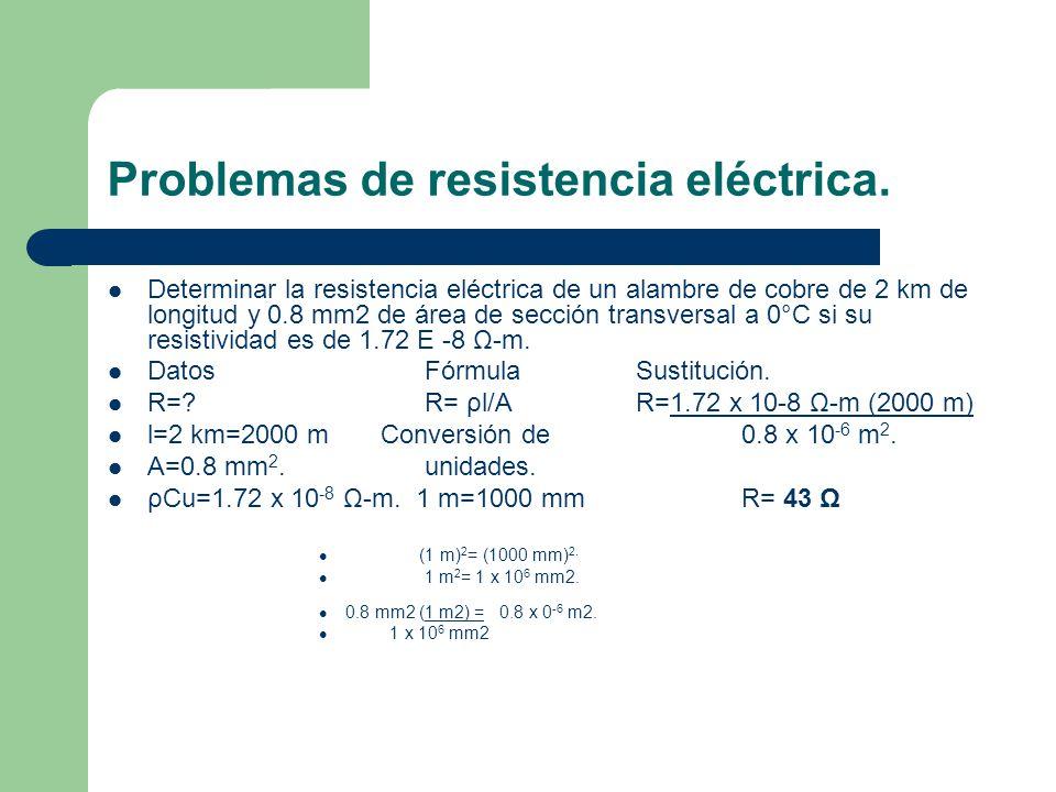 Problemas de resistencia eléctrica. Determinar la resistencia eléctrica de un alambre de cobre de 2 km de longitud y 0.8 mm2 de área de sección transv