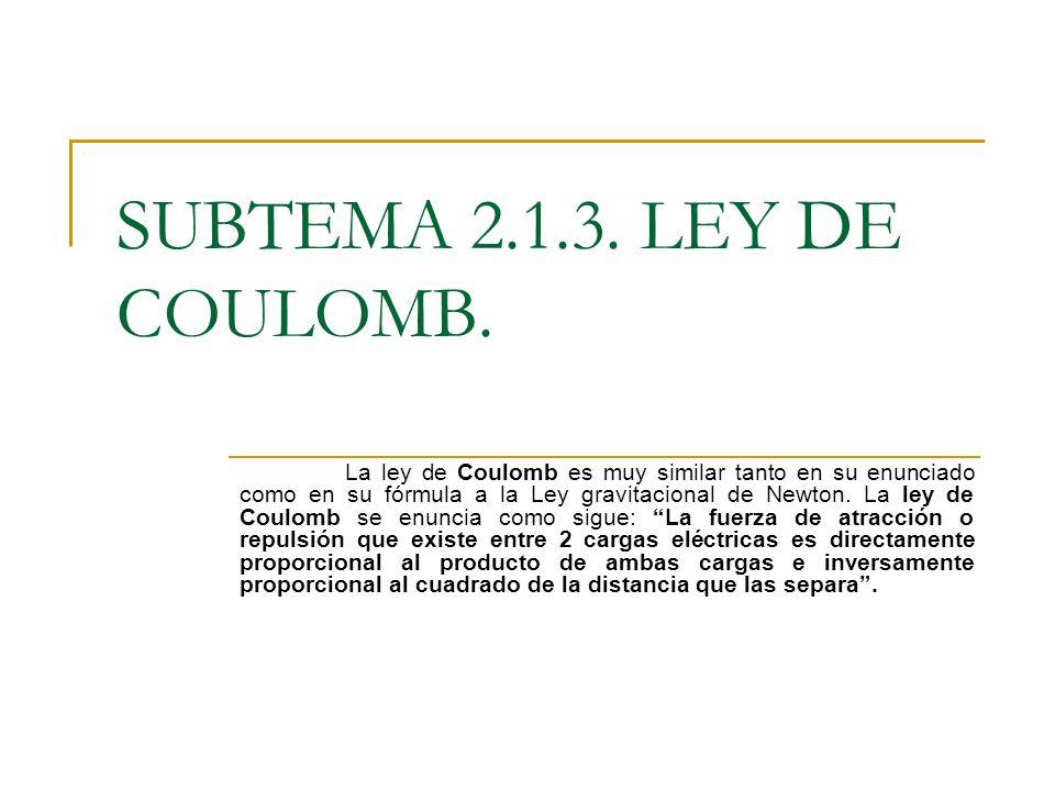 SUBTEMA 2.1.3. LEY DE COULOMB. La ley de Coulomb es muy similar tanto en su enunciado como en su fórmula a la Ley gravitacional de Newton. La ley de C