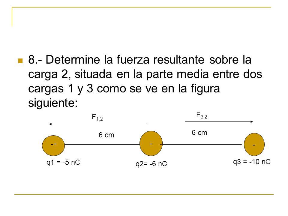8.- Determine la fuerza resultante sobre la carga 2, situada en la parte media entre dos cargas 1 y 3 como se ve en la figura siguiente: - - - - q1 =