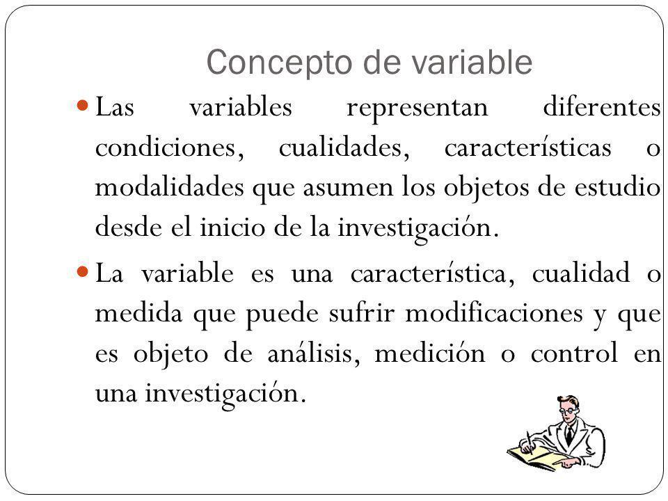 MEDICIÓN DE VARIABLES La característica más básica y común de una variable es la de diferenciar la presencia y ausencia de la propiedad que ella enuncia.