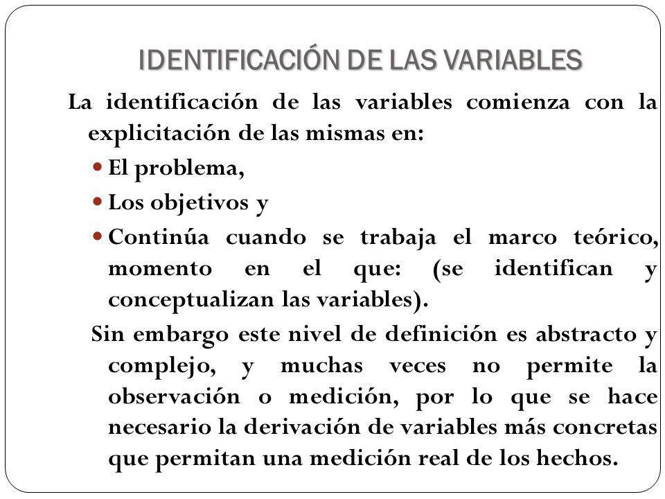 IDENTIFICACIÓN DE LAS VARIABLES Ejemplo: Factores económicos y culturales relacionados con el rendimiento académico de los estudiantes.