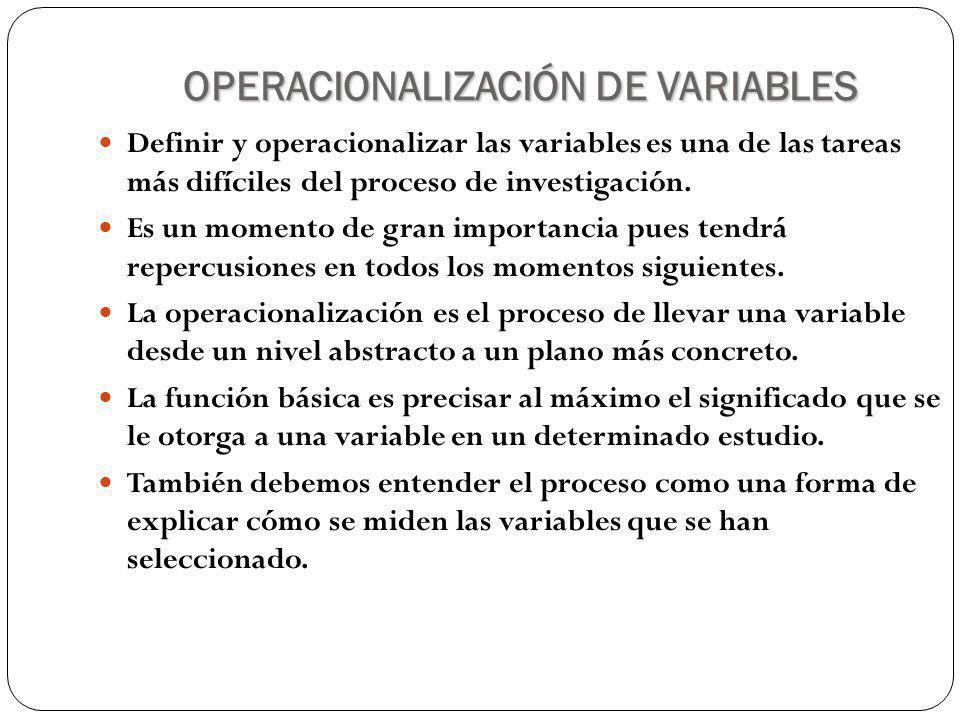 OPERACIONALIZACIÓN DE VARIABLES Definir y operacionalizar las variables es una de las tareas más difíciles del proceso de investigación.