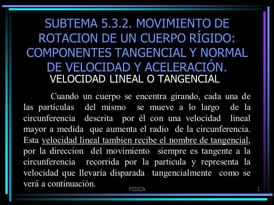 FISICA1 SUBTEMA 5.3.2. MOVIMIENTO DE ROTACION DE UN CUERPO RÍGIDO: COMPONENTES TANGENCIAL Y NORMAL DE VELOCIDAD Y ACELERACIÓN. VELOCIDAD LINEAL O TANG