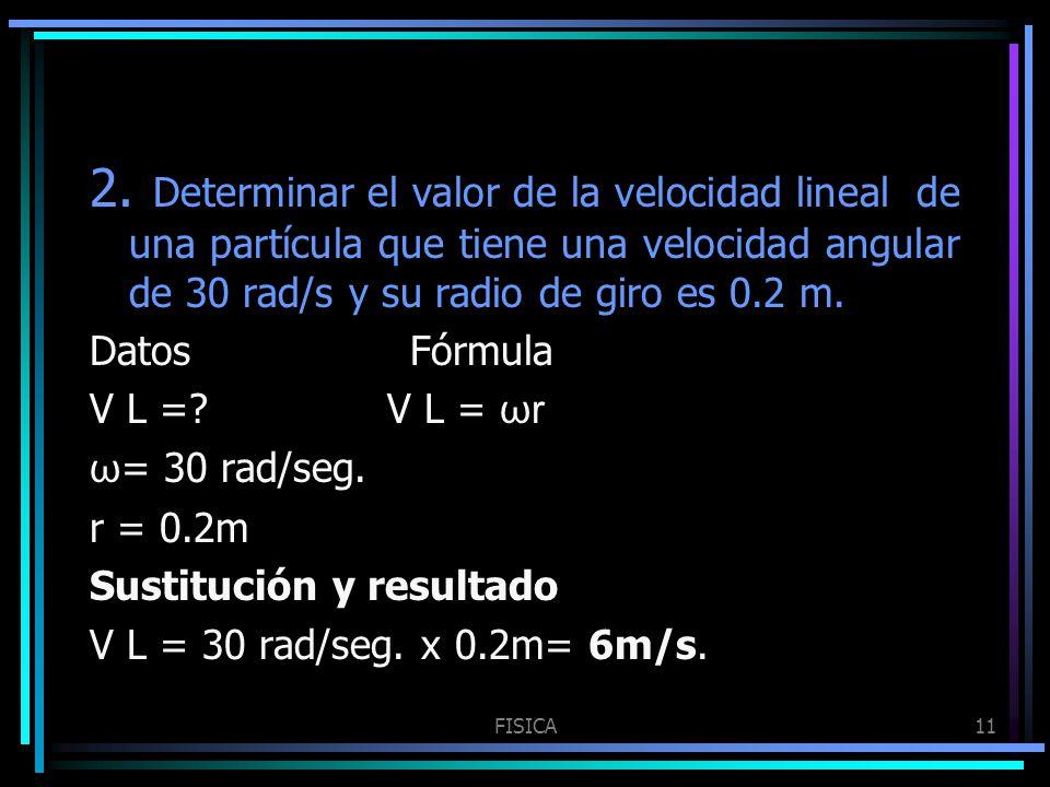 FISICA11 2. Determinar el valor de la velocidad lineal de una partícula que tiene una velocidad angular de 30 rad/s y su radio de giro es 0.2 m. Datos