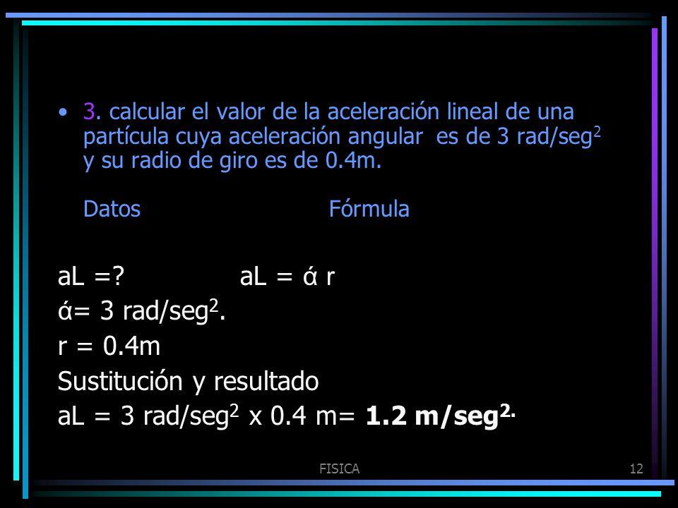 FISICA12 3. calcular el valor de la aceleración lineal de una partícula cuya aceleración angular es de 3 rad/seg 2 y su radio de giro es de 0.4m. Dato