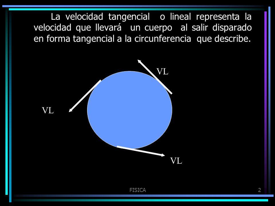FISICA2 La velocidad tangencial o lineal representa la velocidad que llevará un cuerpo al salir disparado en forma tangencial a la circunferencia que