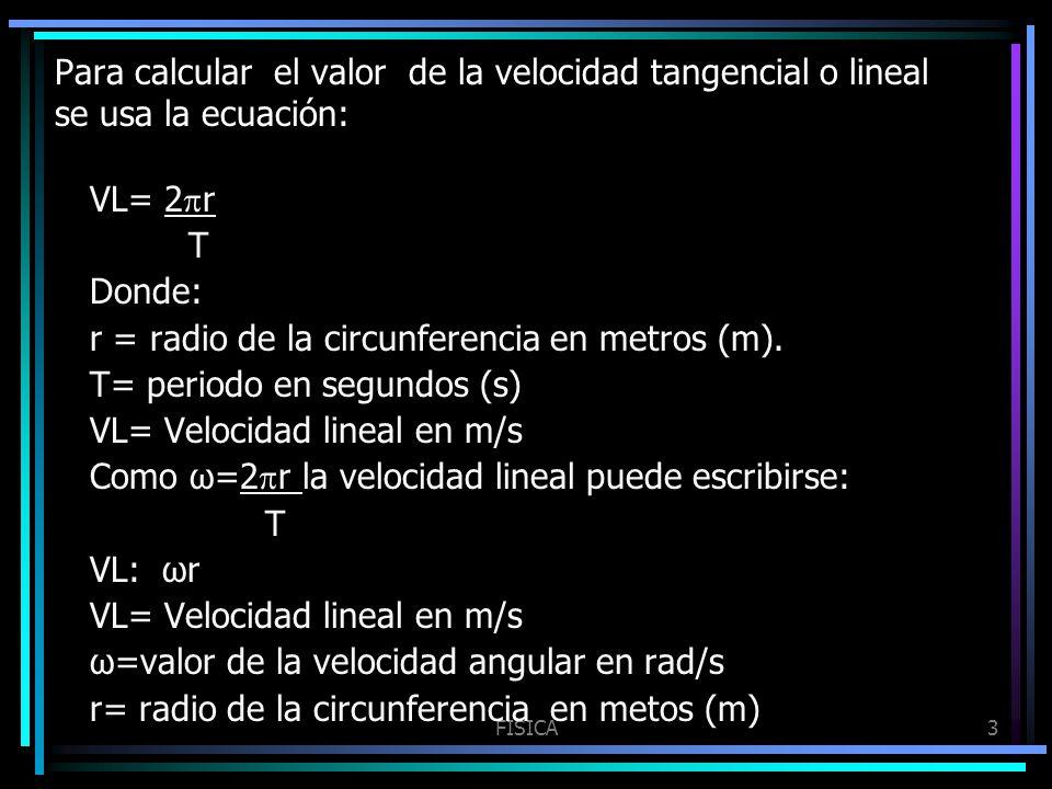 FISICA3 Para calcular el valor de la velocidad tangencial o lineal se usa la ecuación: VL= 2 r T Donde: r = radio de la circunferencia en metros (m).