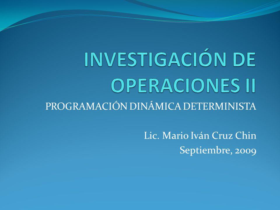 PROGRAMACIÓN DINÁMICA DETERMINISTA Lic. Mario Iván Cruz Chin Septiembre, 2009