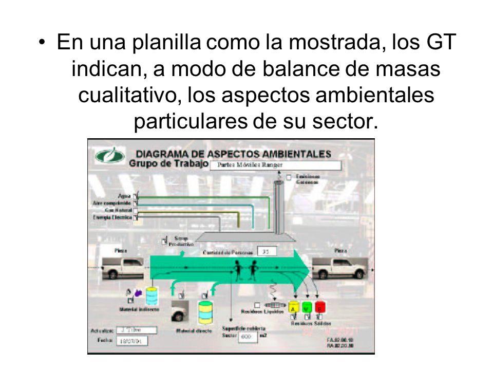 En una planilla como la mostrada, los GT indican, a modo de balance de masas cualitativo, los aspectos ambientales particulares de su sector.