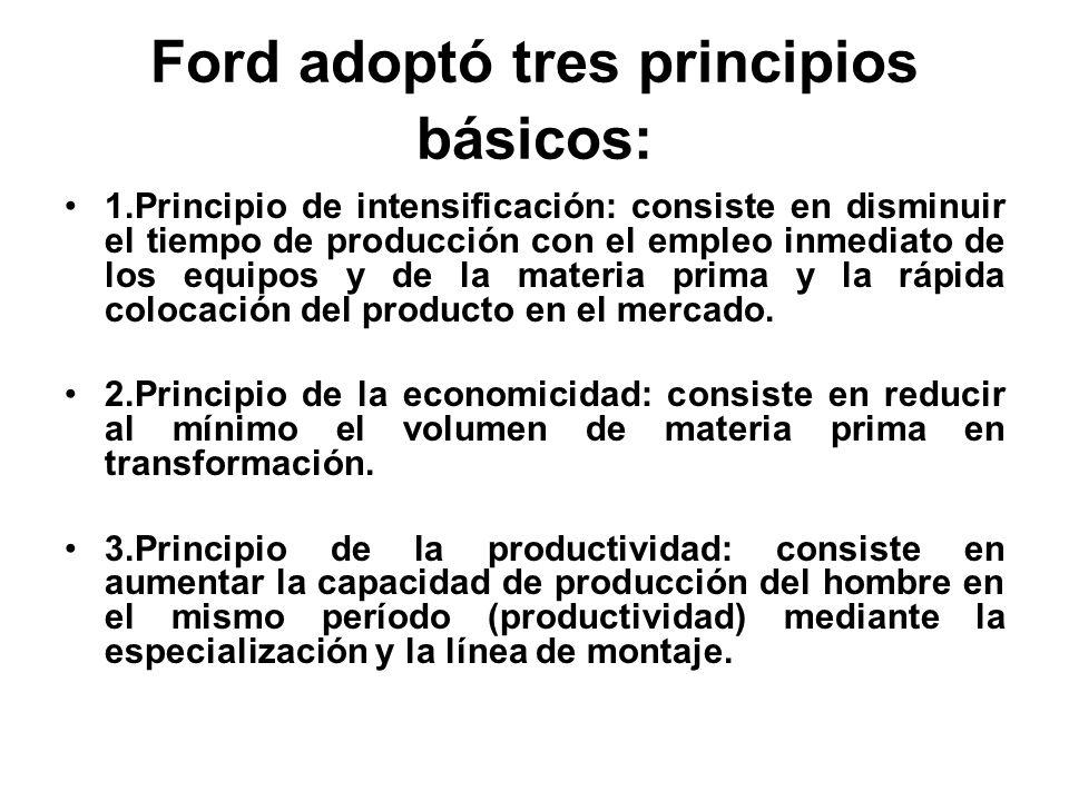 1.Principio de intensificación: consiste en disminuir el tiempo de producción con el empleo inmediato de los equipos y de la materia prima y la rápida