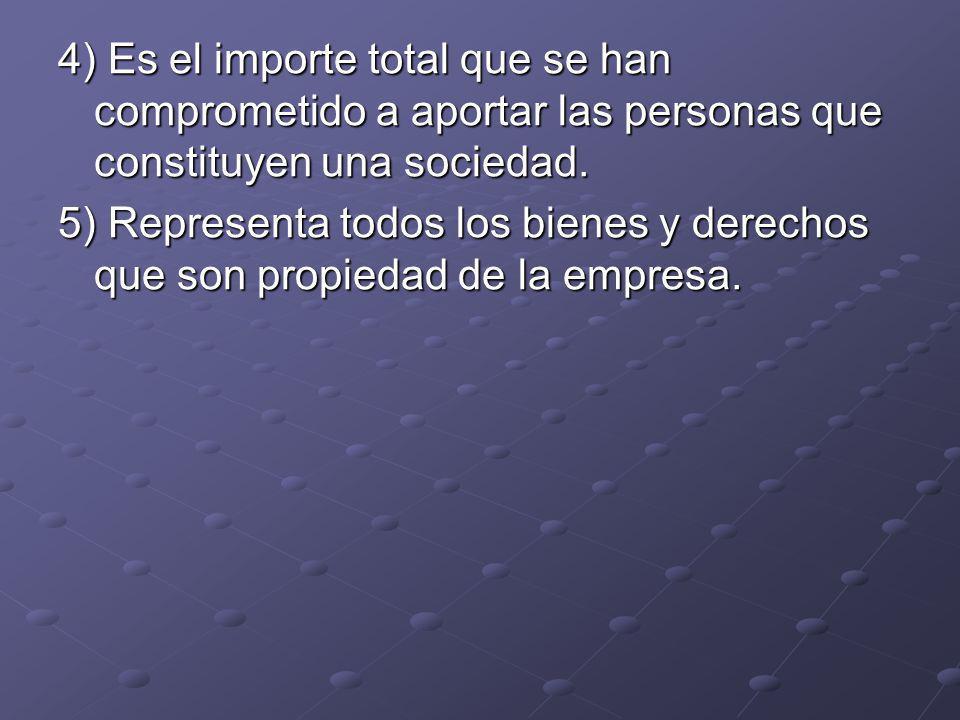 4) Es el importe total que se han comprometido a aportar las personas que constituyen una sociedad.