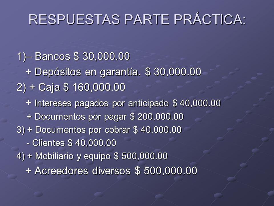 RESPUESTAS PARTE PRÁCTICA: 1)– Bancos $ 30,000.00 + Depósitos en garantía.
