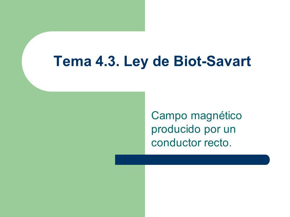 Tema 4.3. Ley de Biot-Savart Campo magnético producido por un conductor recto.