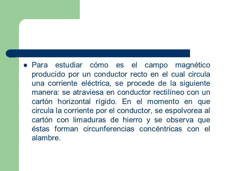 Para estudiar cómo es el campo magnético producido por un conductor recto en el cual circula una corriente eléctrica, se procede de la siguiente manera: se atraviesa en conductor rectilíneo con un cartón horizontal rígido.