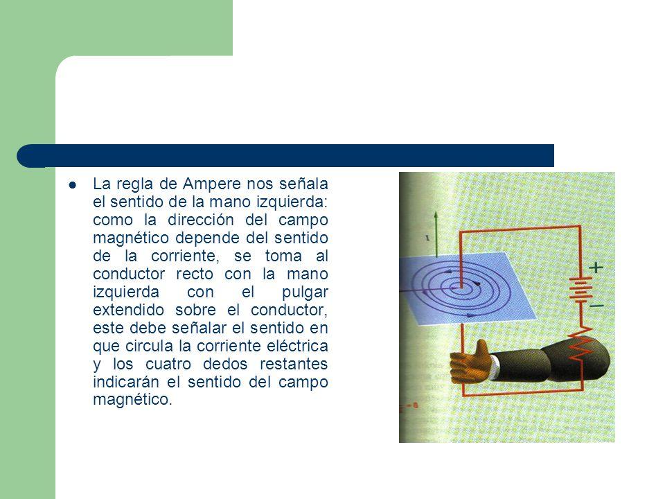 La regla de Ampere nos señala el sentido de la mano izquierda: como la dirección del campo magnético depende del sentido de la corriente, se toma al conductor recto con la mano izquierda con el pulgar extendido sobre el conductor, este debe señalar el sentido en que circula la corriente eléctrica y los cuatro dedos restantes indicarán el sentido del campo magnético.