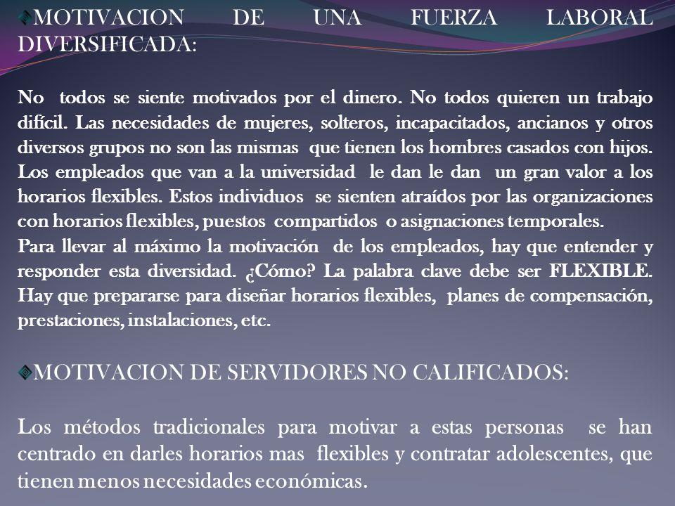 MOTIVACION DE UNA FUERZA LABORAL DIVERSIFICADA: No todos se siente motivados por el dinero. No todos quieren un trabajo difícil. Las necesidades de mu